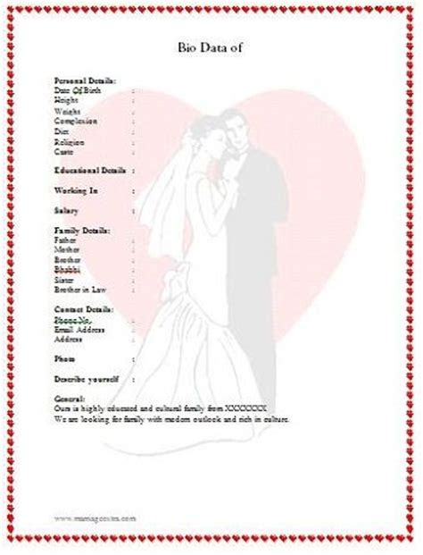 marriage profile template the 25 best ideas about biodata format on