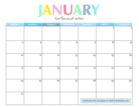 printable monthly calendar january 2016 free printable your lovely 2016 calendars
