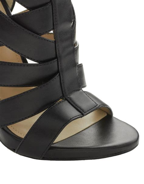 aldo black leather strappy sandal heel aldo kabinda strappy heeled sandals in black lyst
