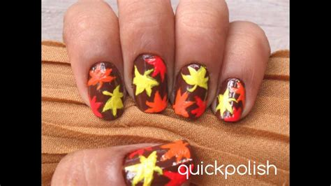 easy nail art leaf easy autumn leaves maple leaves nails youtube