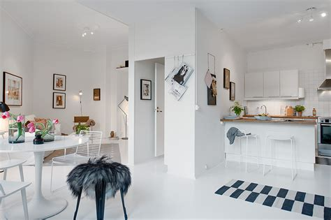 one room small single room apartment in black and white