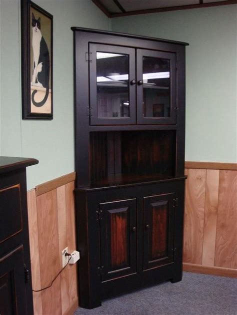 black corner cabinet for kitchen amish farmhouse pine corner hutch rustic wood corner