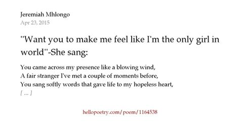 poem brain the hermit want you to make me feel like i m the only in the