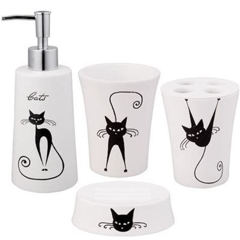 cat bathroom accessories black and white cat accessories to brighten up your