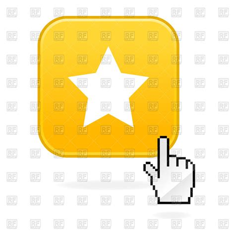 Yellow Star Icon And Cursor Hand Vector Image Of Icons And