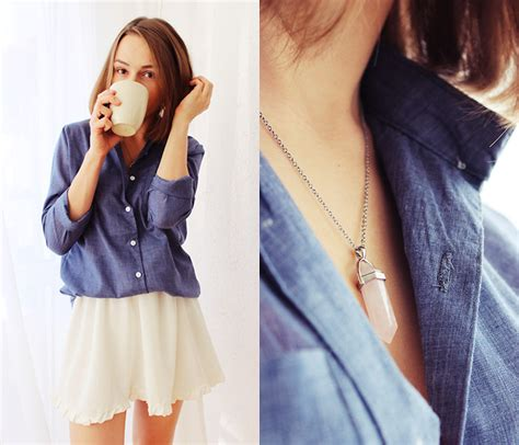marta s blue shirt sheinside white skirt blue shirt