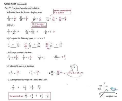 Mba Math Pre Quiz by Glencoe Pre Algebra Worksheets Answers Chapter 7 Test