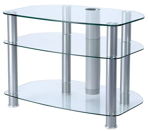 stand up l with shelves alphason clear glass tv stand for up to 32 quot tvs
