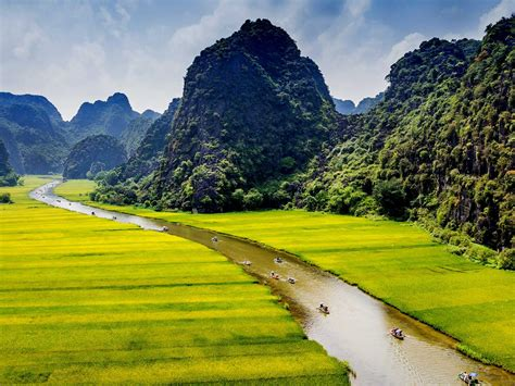 landscape mountains  green forest river meadows ninh