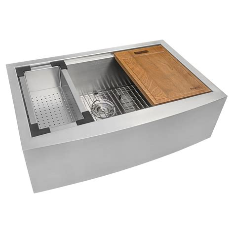Stainless Steel Apron Front Kitchen Sink Ruvati Apron Front Stainless Steel 30 In 16 Workstation Single Bowl Farmhouse Kitchen