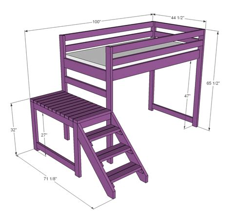 ana white c loft bed with stair junior height diy projects