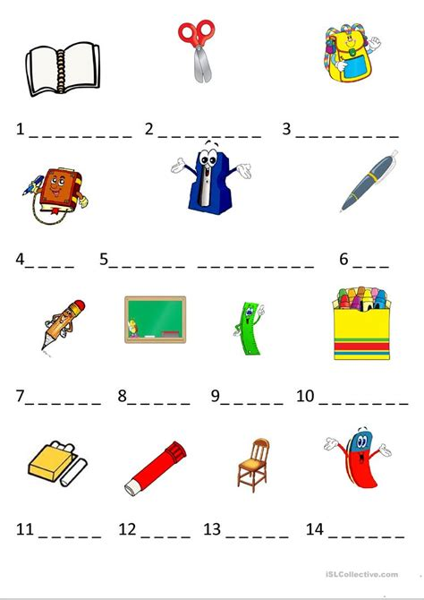 school objects matching b w worksheets kola pinterest clroom items esl preschool worksheets clroom best free