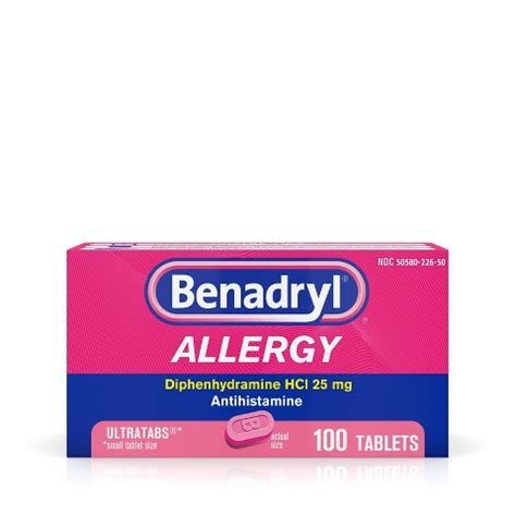 benadryl dose benadryl allergy 25 mg tablets 100 count target