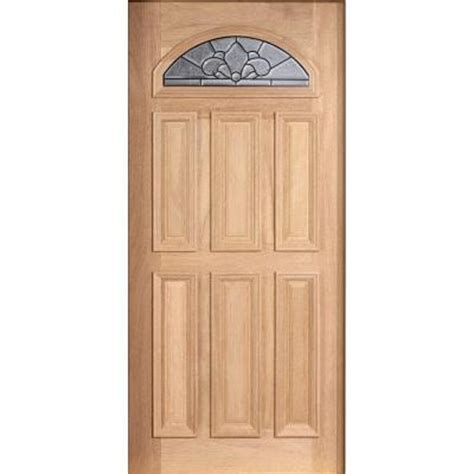 Solid Wood Front Doors With Glass Door 36 In X 80 In Mahogany Type Unfinished Beveled Patina Fanlite Glass Solid Wood Front