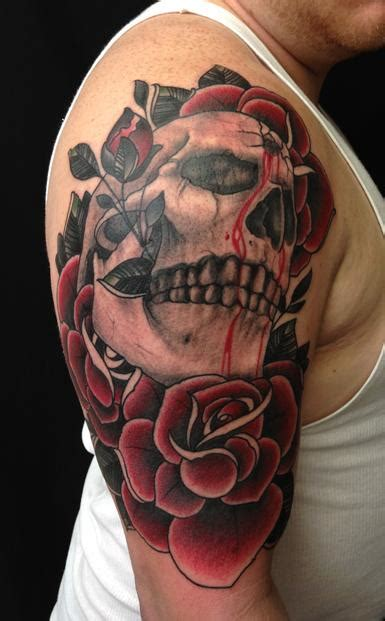 skull and rose sleeve tattoo traditional skull color arm half sleeve by jon