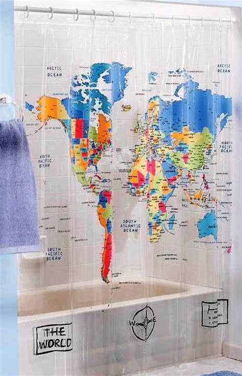 World Map Shower Curtains The World Map Shower Curtain 21 95 Must Buys Pinterest