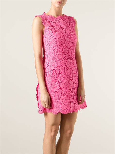 Flower Lace Dress Black Pink Ml valentino floral lace fitted dress in pink lyst