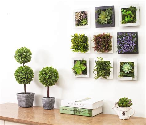 imitation plants home decoration 3d creative metope succulent plants imitation wood photo