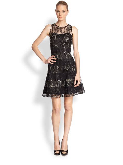 Lace Sheer Dress lyst unger embroidered sheer lace dress in black