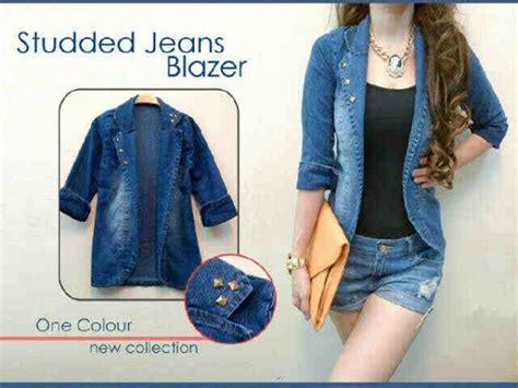 Jaket Cewe Bahan Denim blazer wanita bahan keren model terbaru bjs202