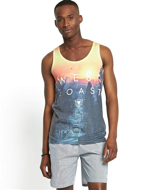 river island mens west coast vest in blue for yellow