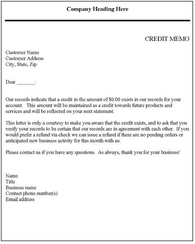 Request Letter Format For Credit Note Credit Memo Credit Letter Template