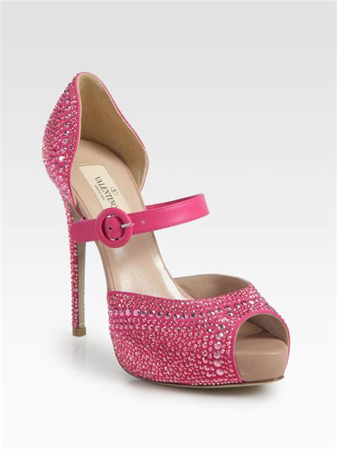 Trend Platform Shoes Bglam by Valentino Glam Crystalcoated Suede Platform Pumps In