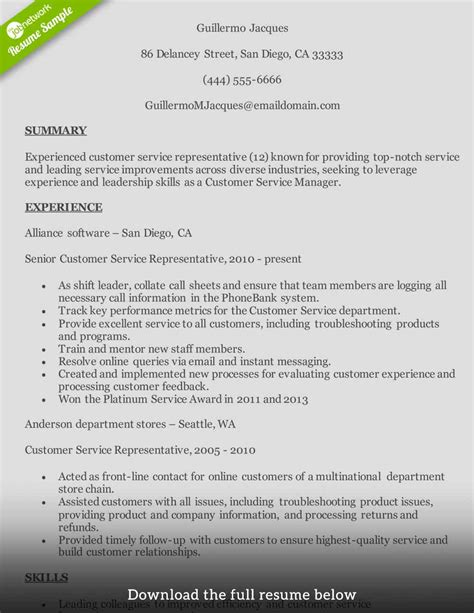 customer service manager resume example resume examples