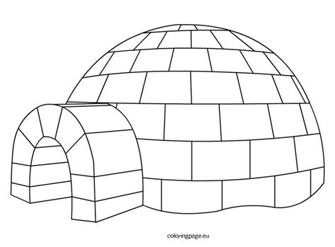 Igloo Coloring Page Free | best photos of printable igloo template igloo coloring