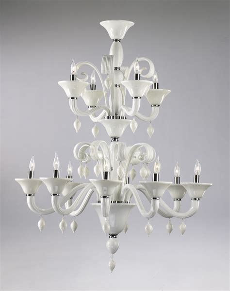 White Glass Chandelier Treviso 12 Light White Glass Chandelier By Cyan Design