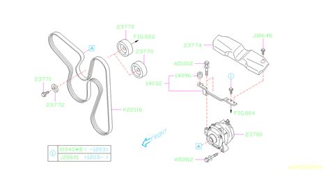 subaru forester bolt washer assembly alternator system engine cooling body