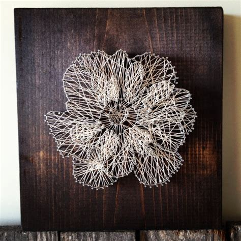 String Wall Decor - 12 quot x12 quot floral anemone reclaimed wood string wall decor