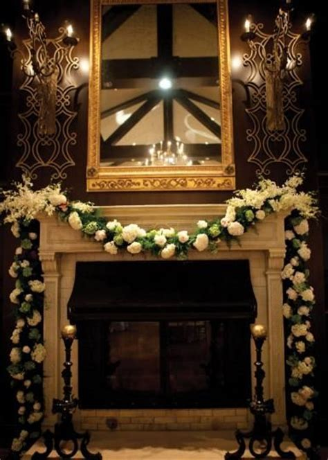 This floral draped fireplace would make a lovely altar