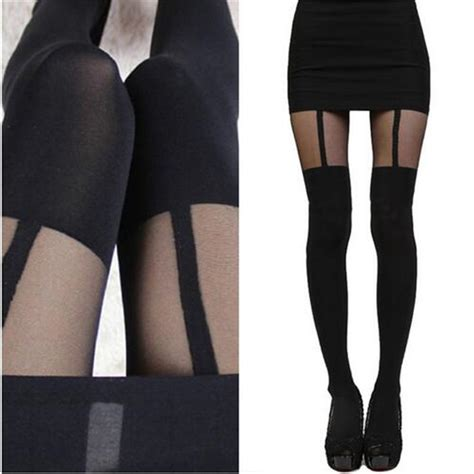 patterned tights express women mock suspender tights elegant sexy soft highly