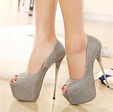 heel w1398 new arrival 9 oct 2015 2015 sequins peep toe platform high heels 16cm
