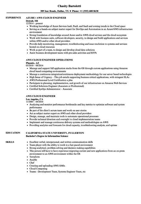 aws cloud engineer resume sles velvet