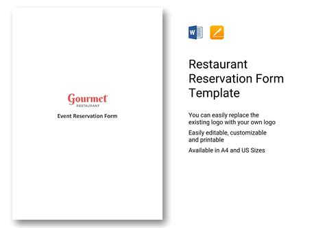 restaurant reservation form template word apple pages