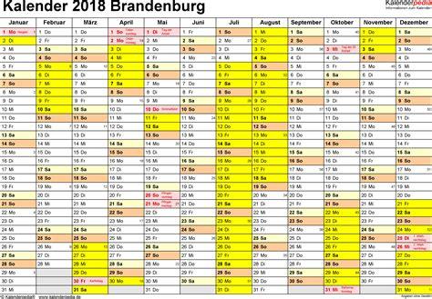 Kalender 2018 Mit Feiertagen Brandenburg Ferien Brandenburg 2018 220 Bersicht Der Ferientermine