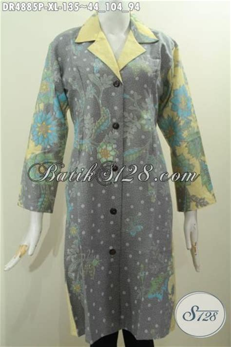 Baju Atasan Bunga Kombinas Warna baju batik wanita dewasa model kerah safari busana batik