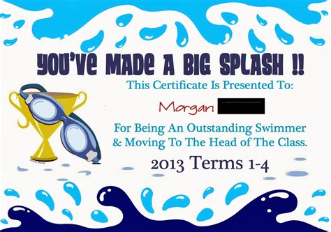 swimming award certificate template aussie pumpkin patch swimming certificates