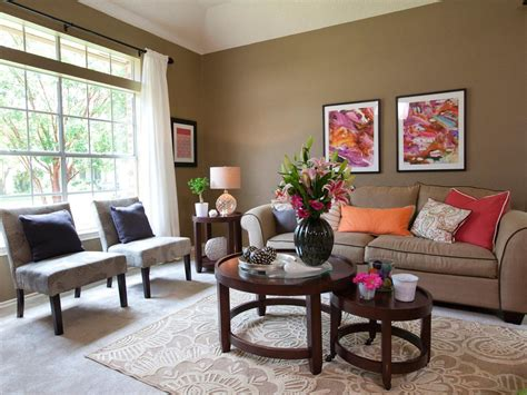 this lively living room features an all over earthy taupe
