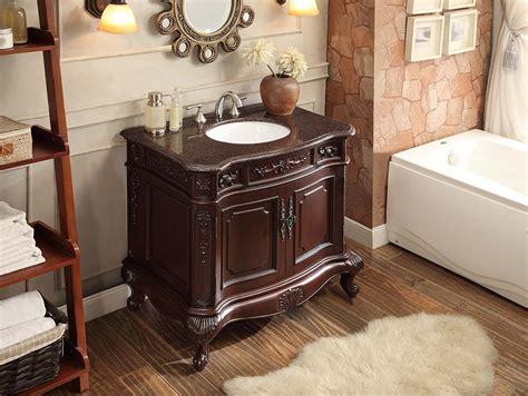 36 Bathroom Vanity With Granite Top Adelina 36 Inch Antique Bathroom Vanity Cherry Finish Polished Granite Top