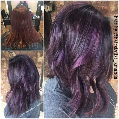 brunette hairstyles with purple highlights 489 best purple hair obsessed images on pinterest hair