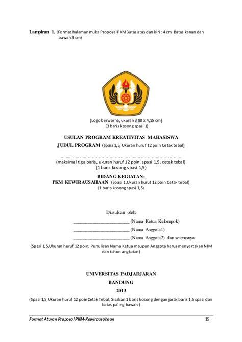 format proposal kewirausahaan format aturan proposal pkm ed k