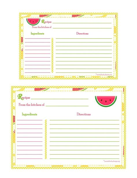 recipe cards 5x7 template banana strawberry pineapple background recipe card 4x6