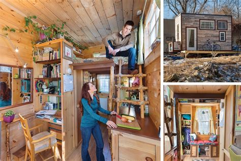 young couple living in tiny house