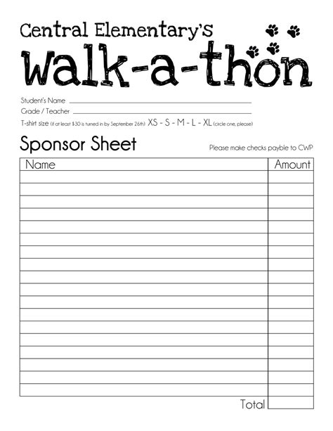 walk a thon card template central wildcat pride walk a thon sponsor collecting
