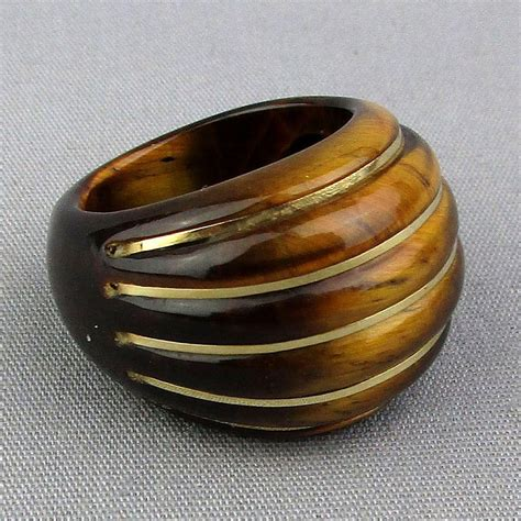 Yellow Supreme Solid Top Luster Cat Eye big chunky tiger eye ring w 14k gold stripes from greatvintagestuff on ruby