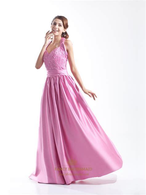 beaded halter prom dress pink beaded bodice sweetheart embellished satin halter