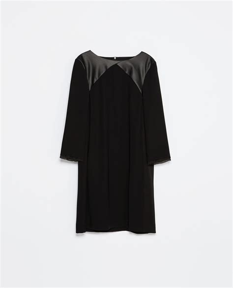 Combination Tunic zara faux leather combination tunic dress in black lyst